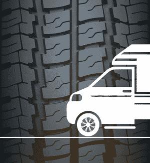 Transporter-Piktogramm mit Reifenpofil