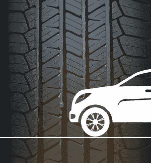 SUV-Piktogramm vor Reifen